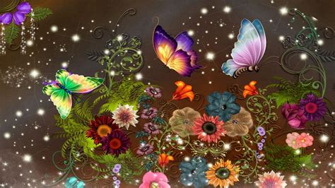 Permalink to Fantasy Background With Butterflies