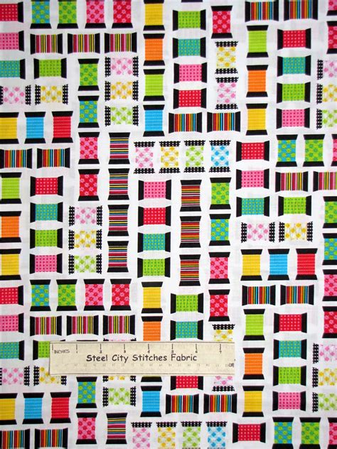 themed fabric by the yard sew theme spool toss white cotton fabric benertex made 9082