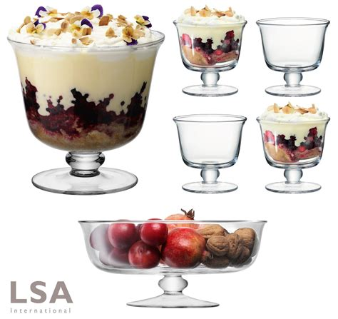 glass served desserts i lsa mouthblown glass trifle comport or dessert bowls dish set of 1 or 4 ebay
