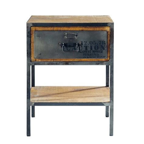 table de chevet avec tiroir en m 233 tal l 45 cm manufacture maisons du monde