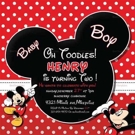 cute mickey mouse birthday invitation design template
