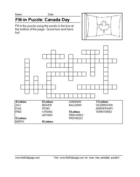 fill  puzzle canada day  printable learning