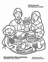 Coloring Dinner Pages Christmas Printable Easter Eating Colouring Clipart Thanksgiving Drawing Restaurant Together Sharing Meal Sheets Coloriage Repas Dessin Preschool sketch template
