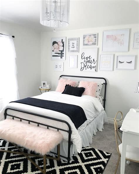black  blush pink girls room decor black  white