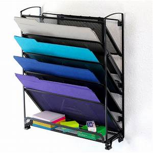 wall mount 6 pocket hanging file sorter organizer folder With hanging document holder