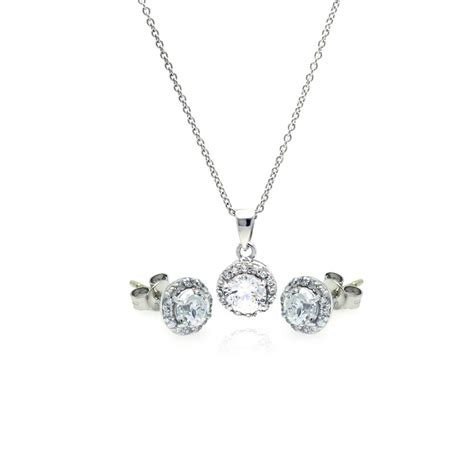 sterling silver  stud earring  necklace set ssts