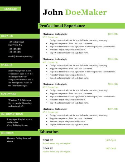 resume cv templates 434 to 440 free cv template dot org