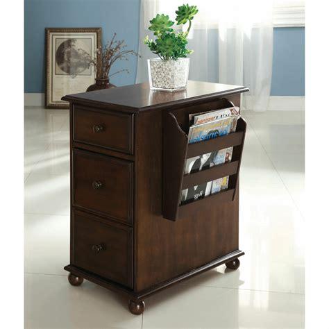 "Furniture Antique Oak Storage Magazine Rack ""end Table"