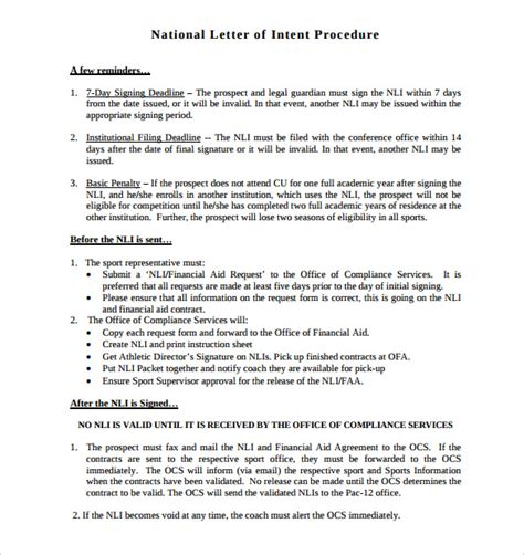 commitment action document template national letter of intent 9 free word pdf format