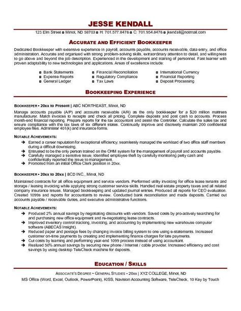 Bookkeeper Resume by Bookkeeper Resume Exle Http Resumesdesign