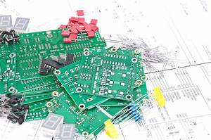 Circuit Boards  Components With Schematics Stock Photo