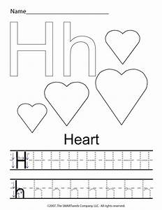 the letter h trace hearts preschool worksheets crafts With traceable letters for crafts