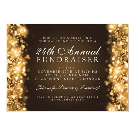 Formal Corporate Party Fundraiser Gala Gold Invitation