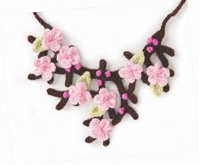 Cherry Blossom Crochet Pattern Necklace Jewelry Allcrafts
