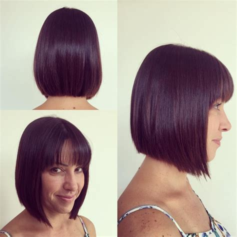 Women's Medium Length Bob Cut with Thin Fringe Bangs on