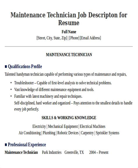 sle maintenance technician resume 9 exles in word