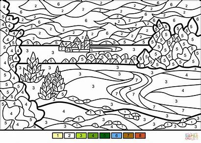 Coloring Number Landscape Pages Summer Printable Supercoloring