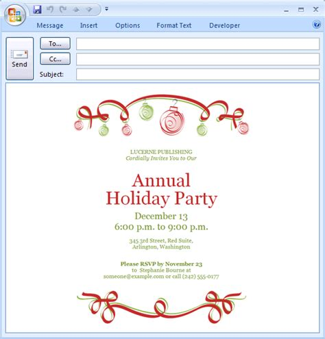download free printable invitations of e mail message holiday party invitation ornaments design