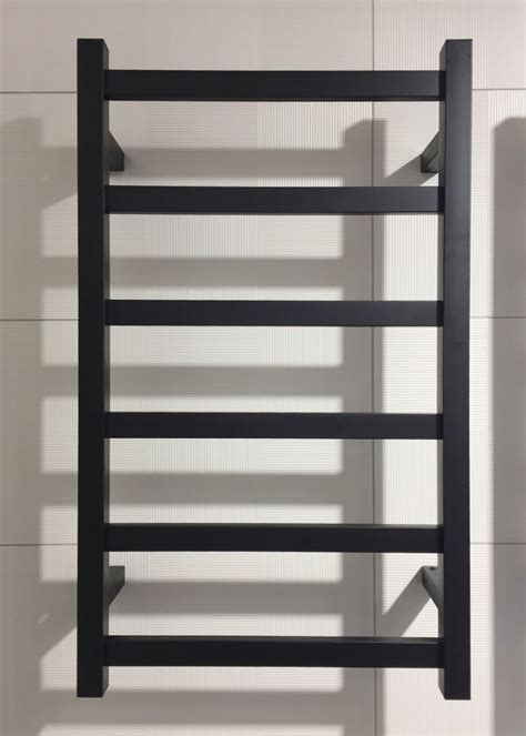BLACK Heated towel rail 450mm wide 6 bars   Eco Bathroom