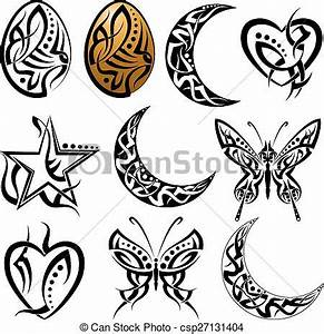 Lune Dessin Tatouage : lune tatouage papillon oeuf coeur papillon tatouage clipart vectoriel rechercher ~ Melissatoandfro.com Idées de Décoration