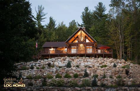 hill side log home