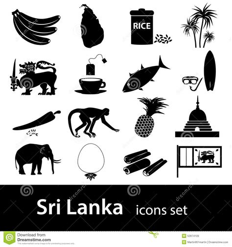 sri lanka country symbols black icons set stock vector