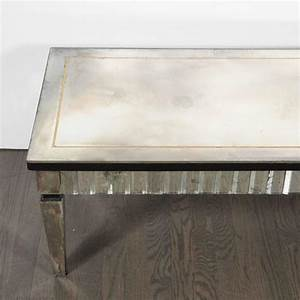 Directoire style rectangular mirrored cocktail table with for Mirrored rectangular coffee table