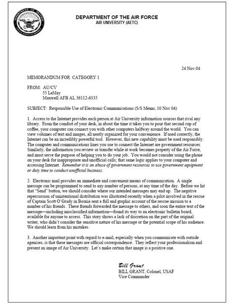Air Force Official Memorandum Template