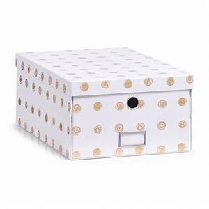Boite Carton Rangement : boite de rangement carton blanc et dore zeller 17553 ~ Teatrodelosmanantiales.com Idées de Décoration