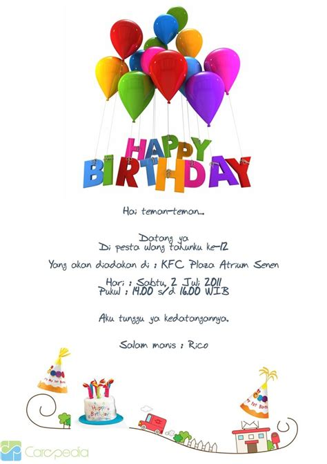 Contoh Membuat Surat Undangan Ulang Tahun by Melinda Aulia Istiqomah November 2011