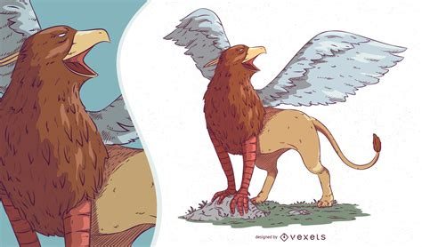Griffin Mythical Creature Illustration - Vector Download