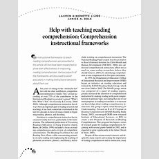 (pdf) Help With Teaching Reading Comprehension Comprehension Instructional Frameworks