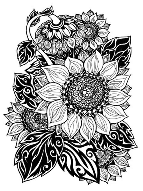 sunflower coloring pages  adults printable   sunflower coloring pages