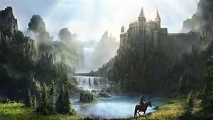 Free, Download, Fantasy, Waterfall, Castle, Hd, Wallpapers, Man