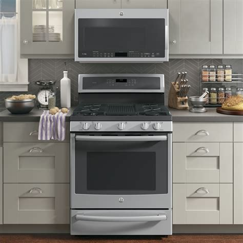 pgbsejss ge profile series   standing gas convection range  warming drawer