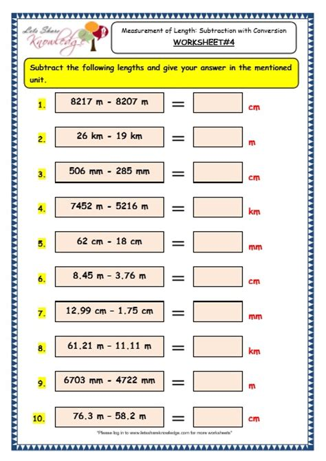 worksheets on length for grade 4 grade 3 maths worksheets 11 5 measurement of length