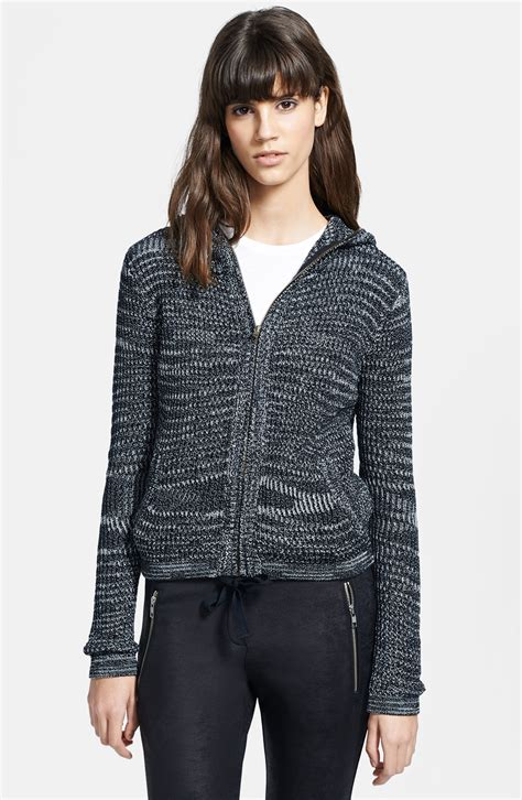 zip front sweater the kooples hooded zip front sweater in black lyst