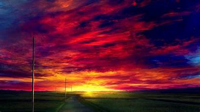 Anime Sunset Landscape Sky Road Wallpapers Realistic