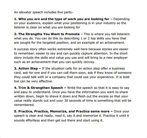 30 second elevator speech template 12 elevator pitch templates to sle templates