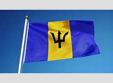 Barbados Flag Waving Against Timelapse Clouds Background