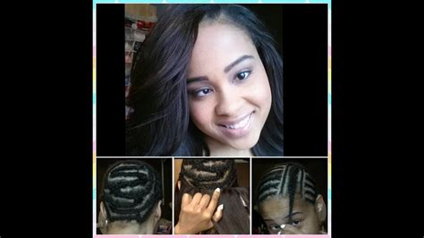 sew  weave hair extensions braid pattern install