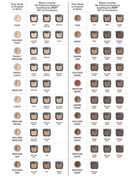bare minerals ready foundation color chart wearables pinterest colors foundation colors