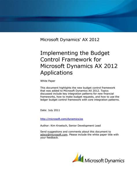 Microsoft Dynamics Ax 2012  Implementing The Budget