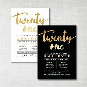 PRINTABLE 21st birthday party invitation gold foil effect ...