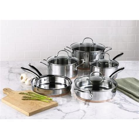 kenmore  pc stainless steel  copper band cookware set natural gourmet  home care