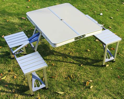 outdoor portable folding integrated tables chairs aluminum