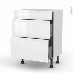 Meuble Bas Cuisine Blanc : meuble de cuisine bas ipoma blanc brillant 3 tiroirs l60 x ~ Teatrodelosmanantiales.com Idées de Décoration