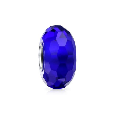 royal blue faceted murano glass  sterling silver core