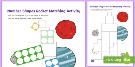 * New * Number Shapes Rocket Matching Activity  Early Years, Maths