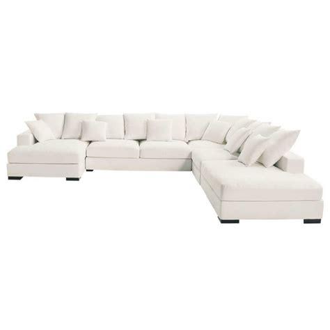 canapé d 39 angle modulable 7 places en coton ivoire loft